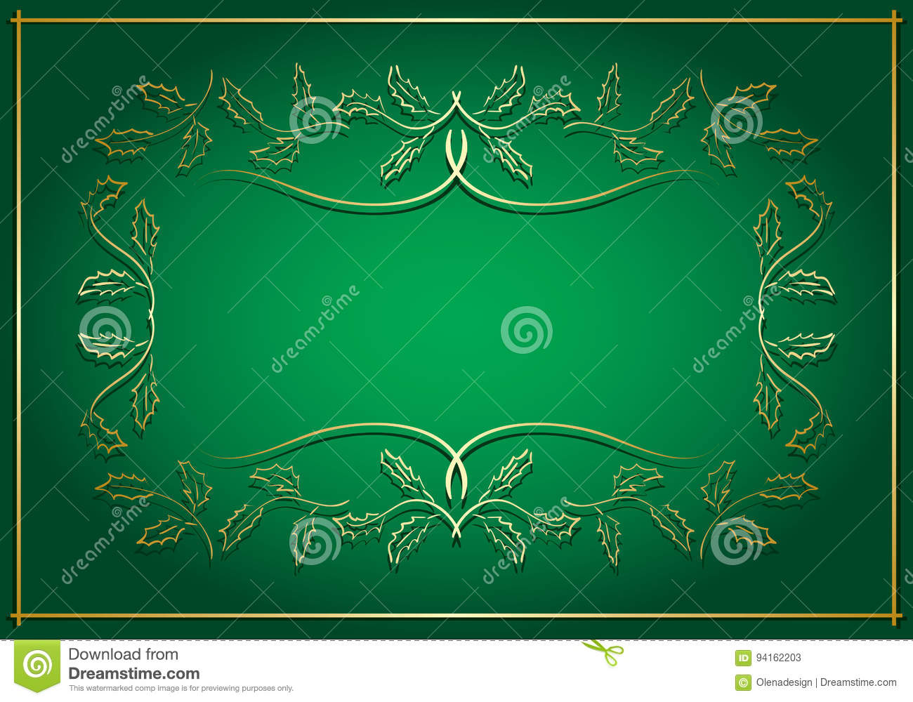 Green And Gold Background With Frame In Center Vector Stock Vector
