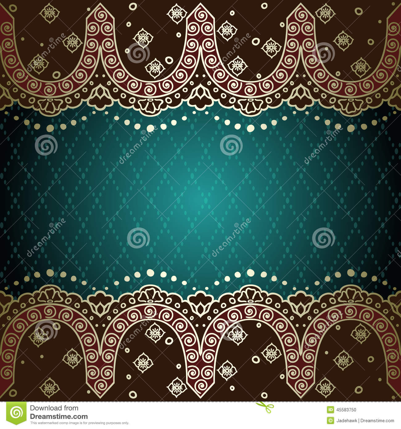 Green Gold Background Inspired By Indian Mehndi Stock Vector