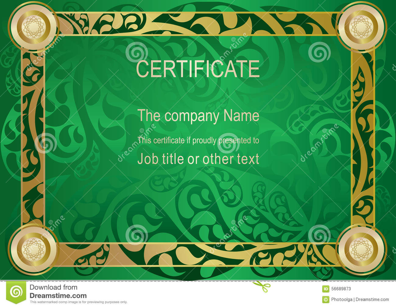 Green Gold Certificate Stock Vector Illustration Of Paisley 56689873