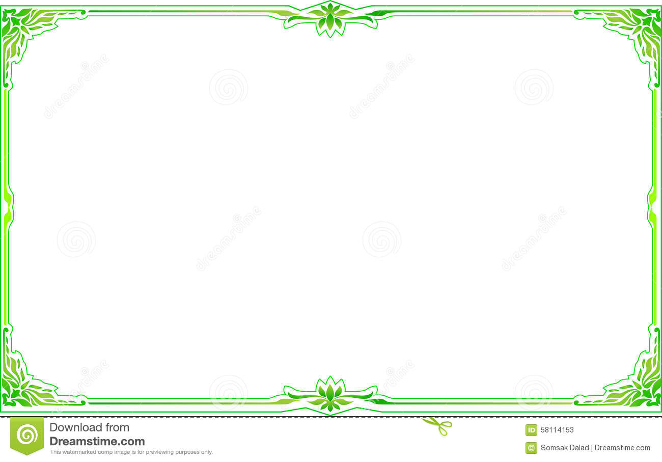 Green Gold Frame Corner Floral Stock Vector Illustration Of