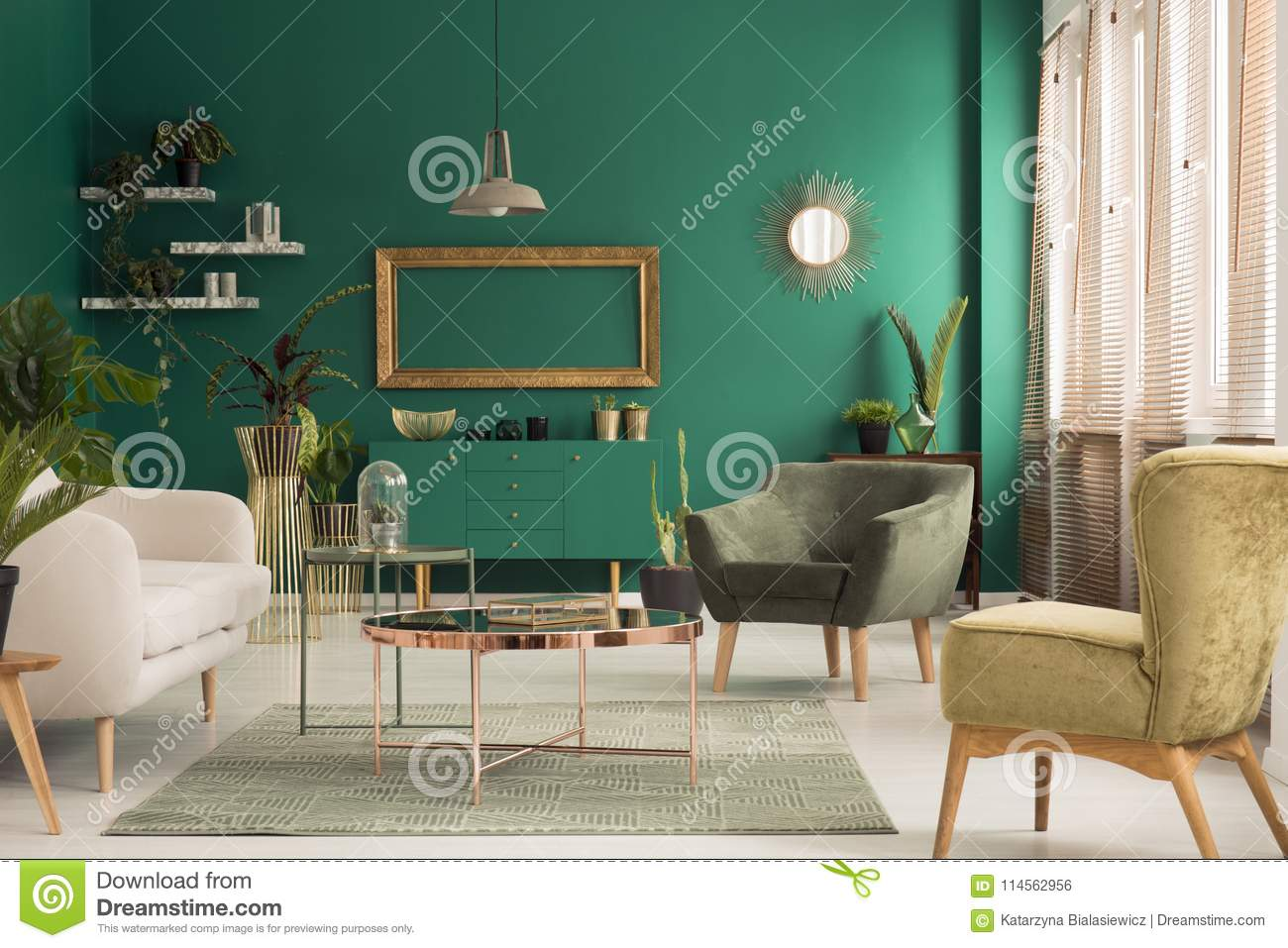 Green And Gold Living Room Stock Photo Image Of Green 114562956