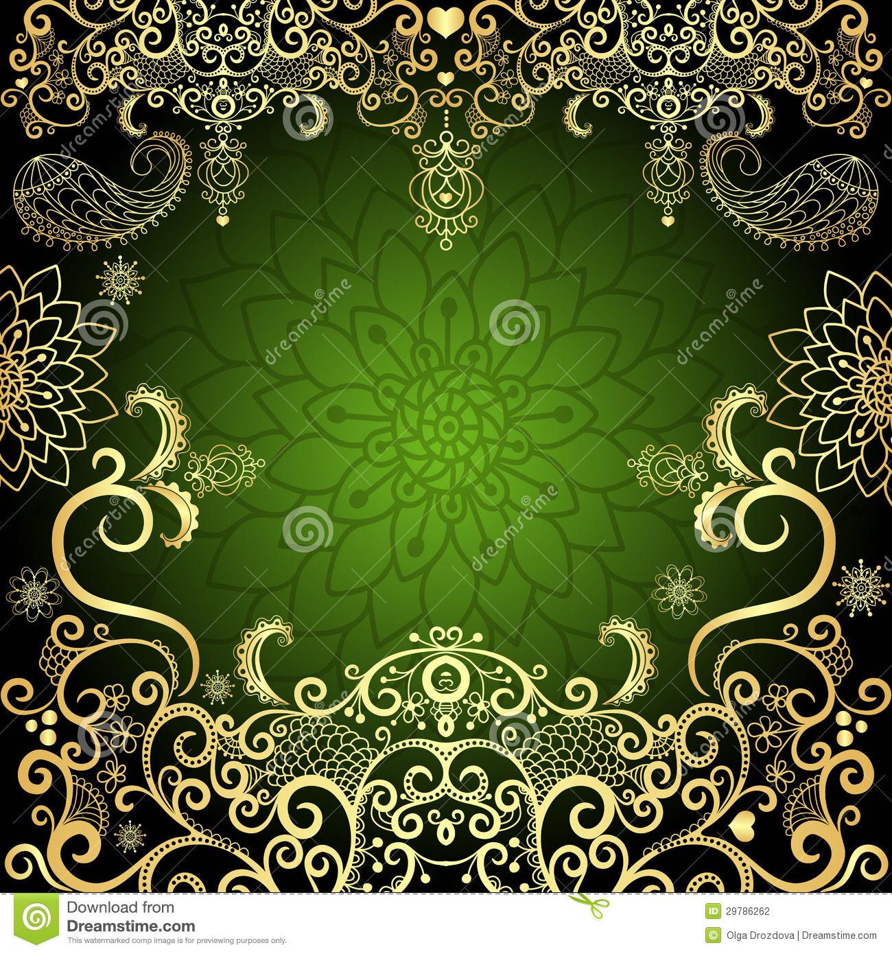Green and gold luxurious filigree vintage floral easter frame (vector