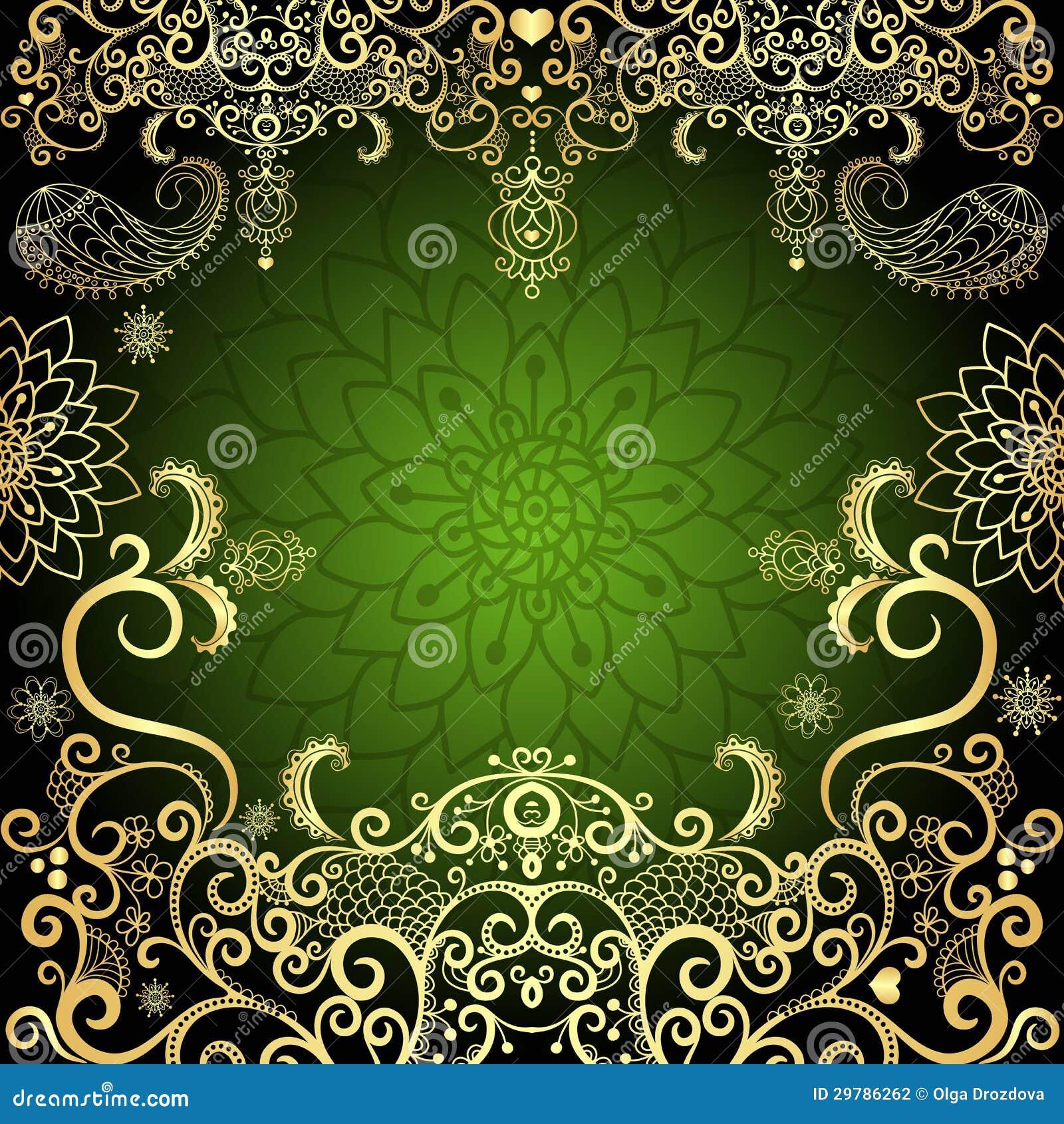 Green-gold Vintage Floral Frame Stock Photography - Image: 29786262