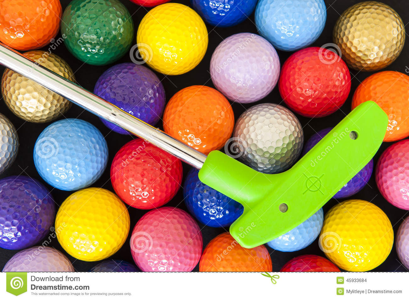 Green Golf Putter With Colorful Balls Stock Photo - Image ...