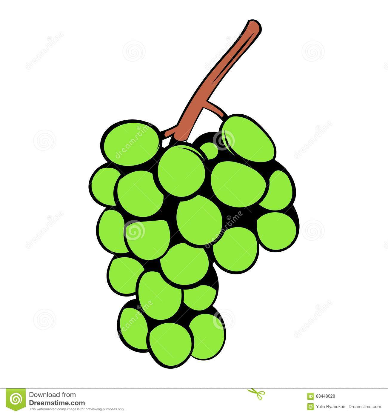 Green Grape Branch Icon Cartoon Stock Vector - Image: 88448028