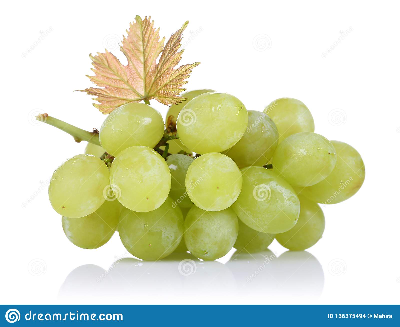 Green grapes with leaf on white background