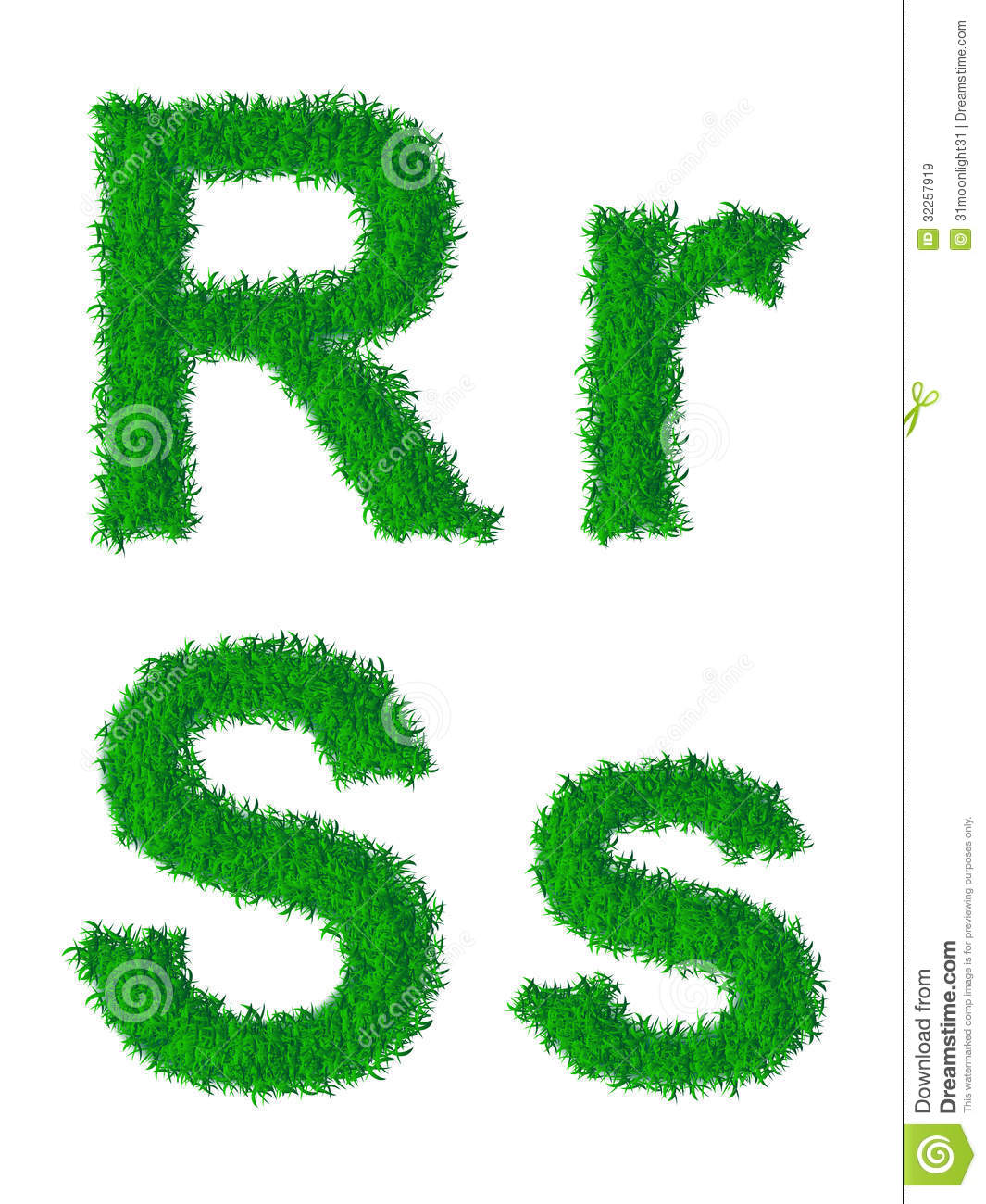 Green Grass Alphabet Stock Vector Illustration Of Decorative