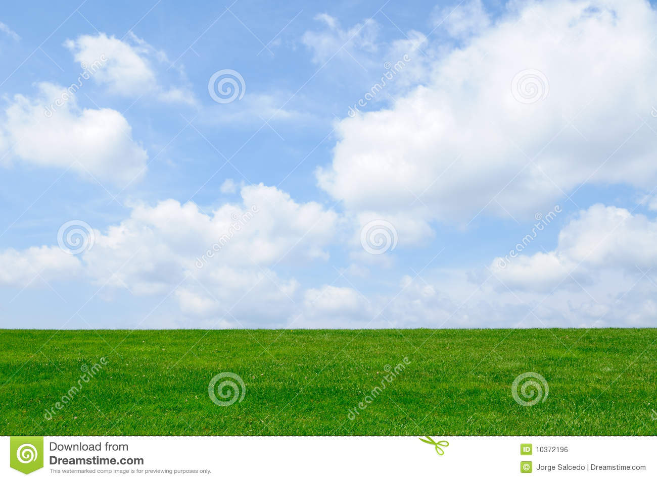 Green Grass, Blue Sky Background Stock Photo - Image of ...