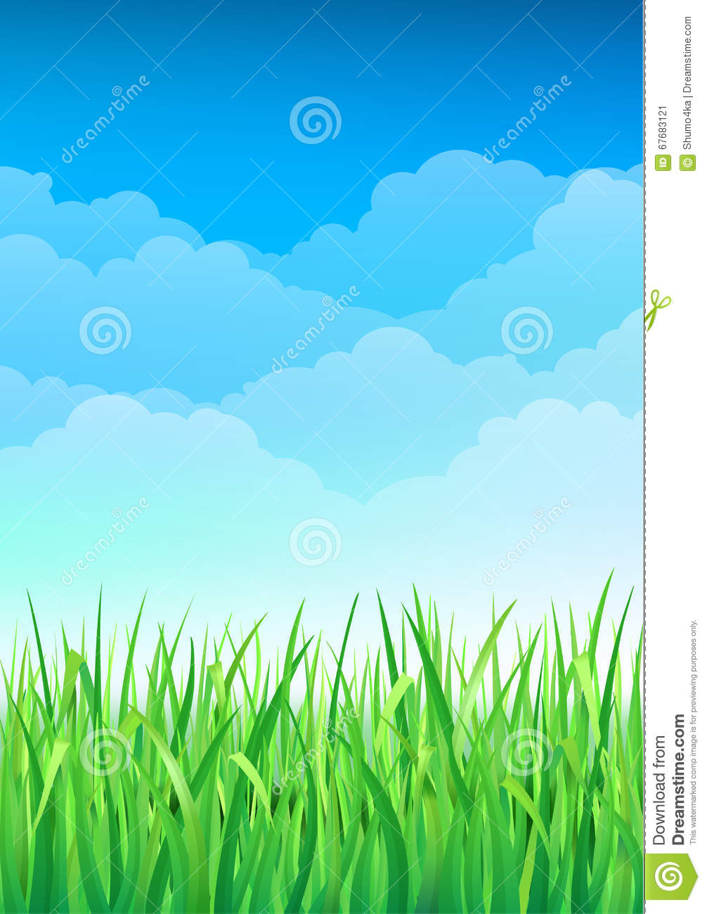 Green Grass And Blue Sky Background. Happy Summer Nature ...