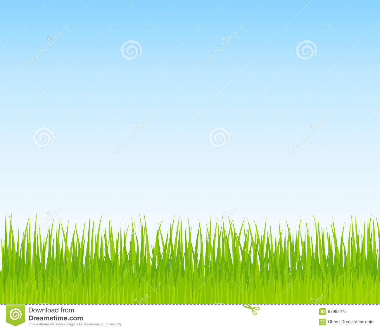Green Grass And Blue Sky Background. Spring Nature ...
