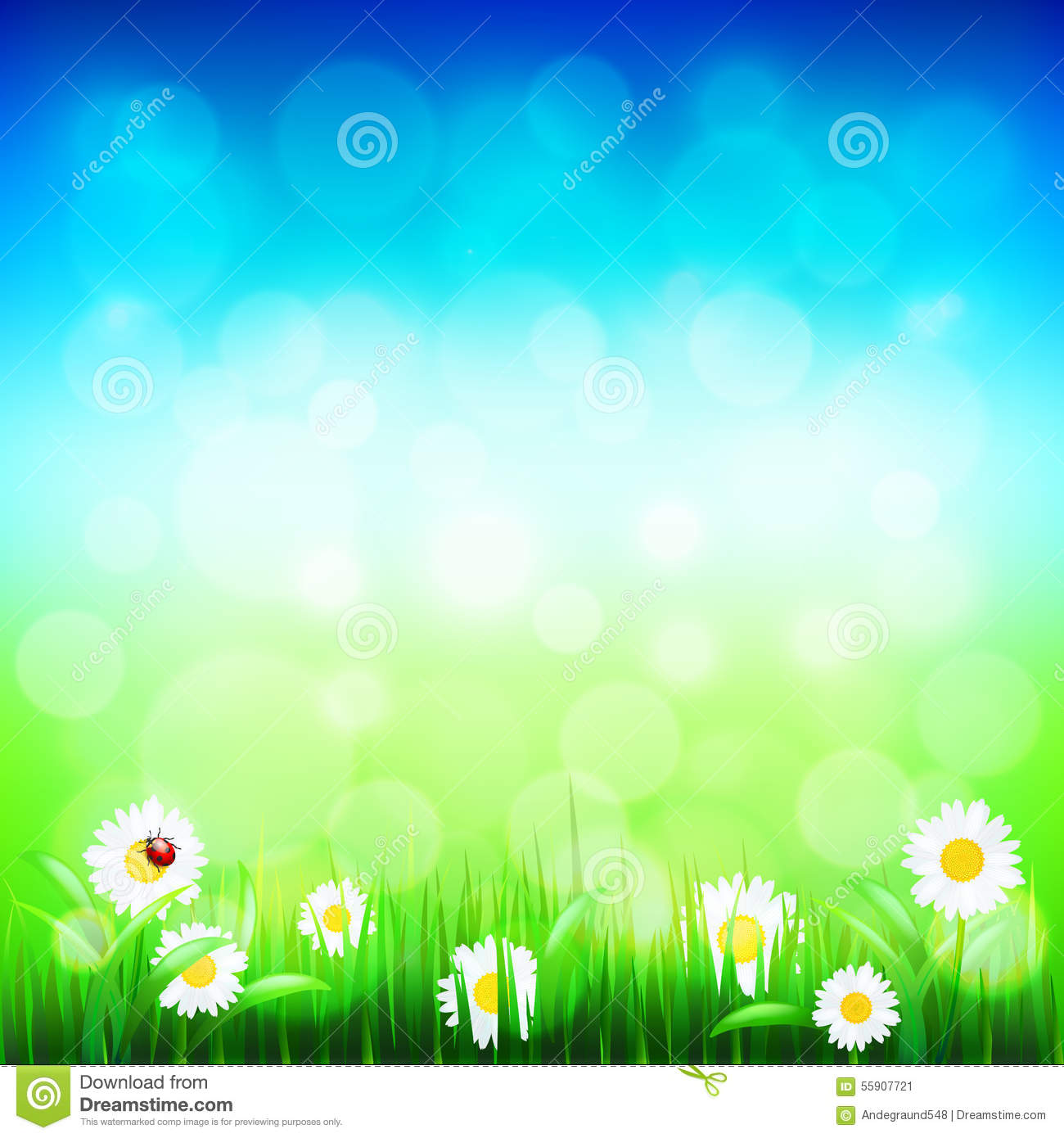 Green Grass And Blue Sky With Flowers Vector Stock Vector ...