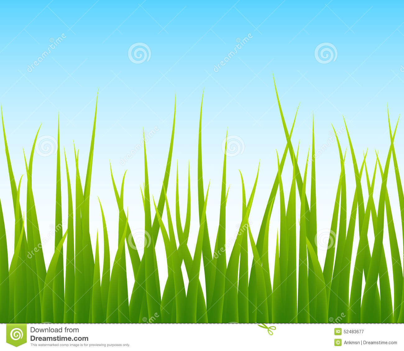 Green Grass, Blue Sky Seamless Background Stock Vector ...