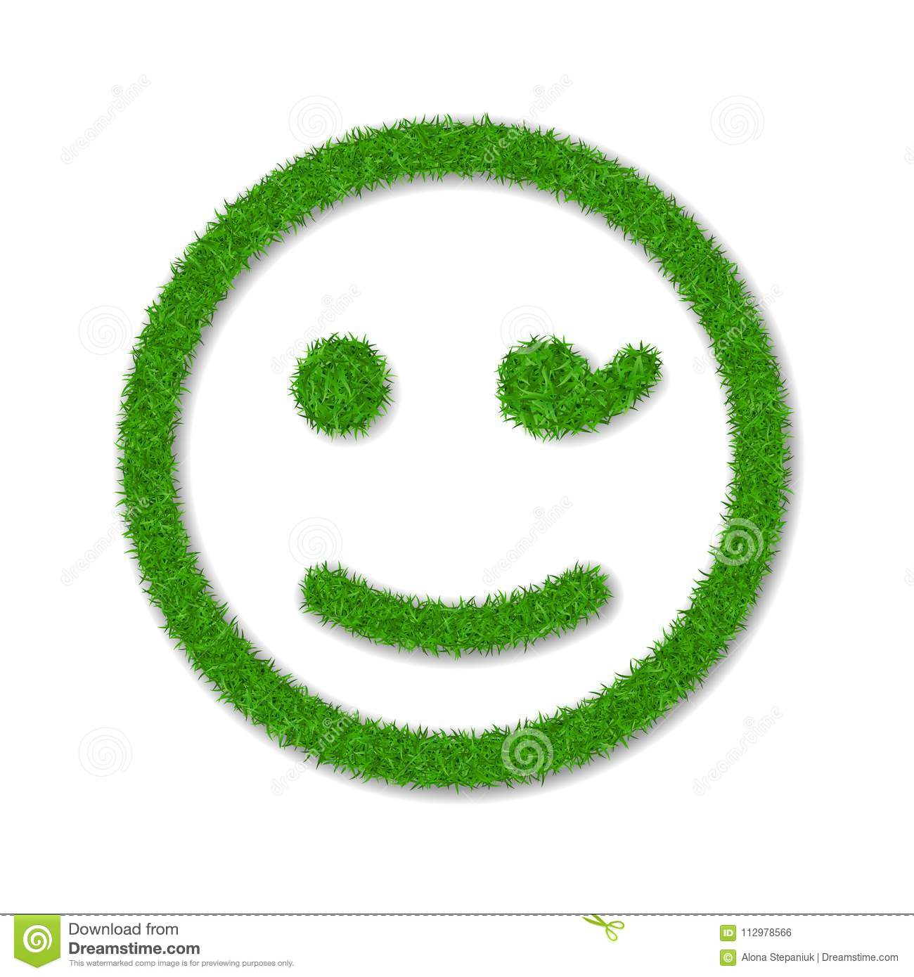 Green grass face wink smile. Smiley grassy emoticon icon, isolated white background. Happy smiling sign. Symbol ecology