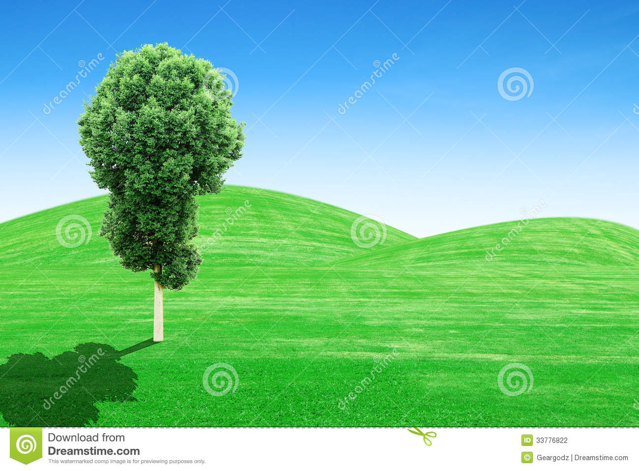 Green Grass Hills And Tree With Sky Stock Photography ...