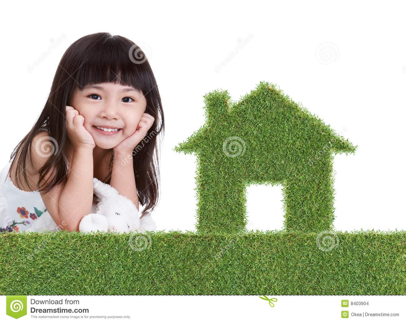Green grass house with girl