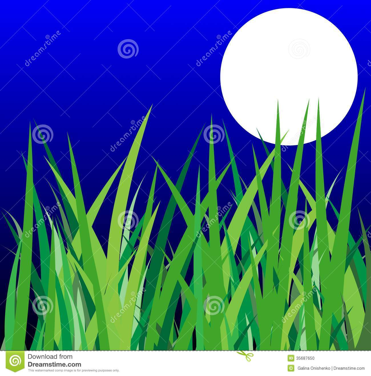 Green Grass And Moon On A Background Night Sky Stock Photo ...