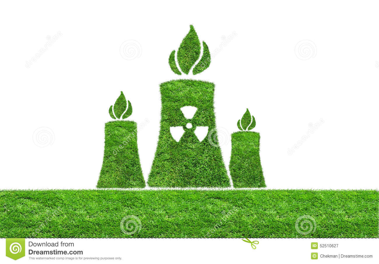 Green Grass Nuclear Power Plant Icon Stock Image Image