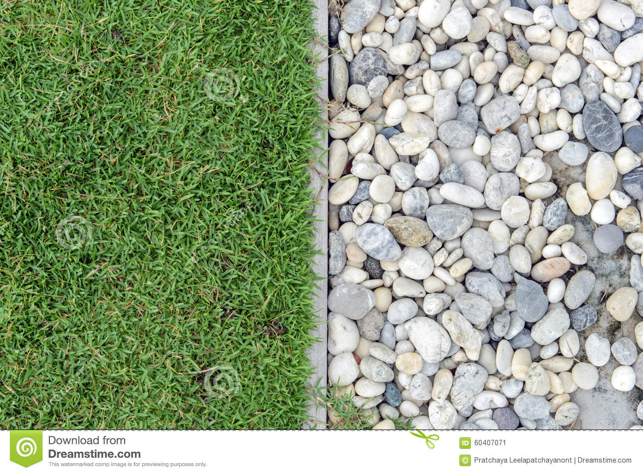 Pebble Garden Green Grass With Pebbles Stone And Grass In Garden Grass With