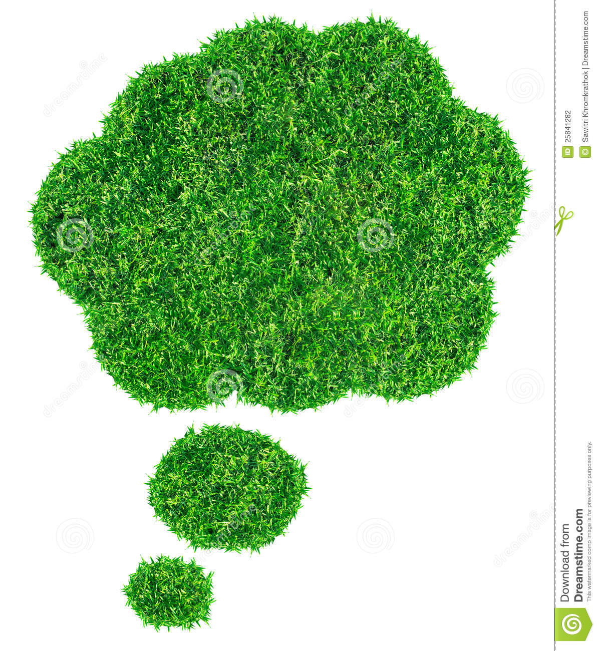 Green grass Speech Bubble, isolated on white background (Save Paths ...