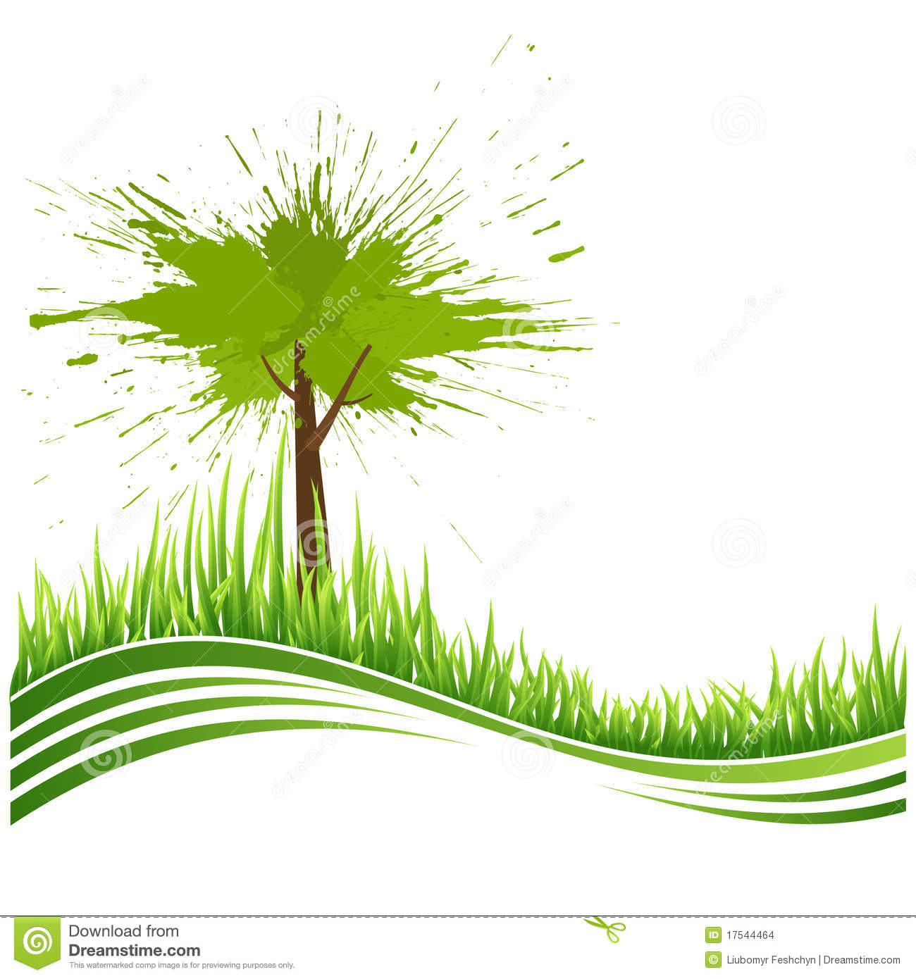 Green Grass And Tree. Eco Background Stock Vector