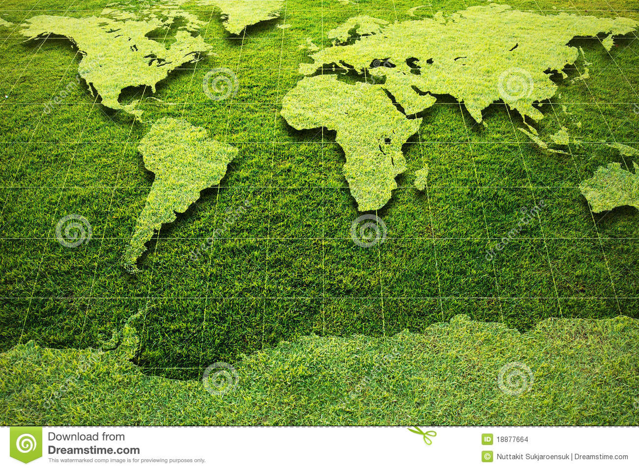 Green Grass World Map Stock Images Image 18877664