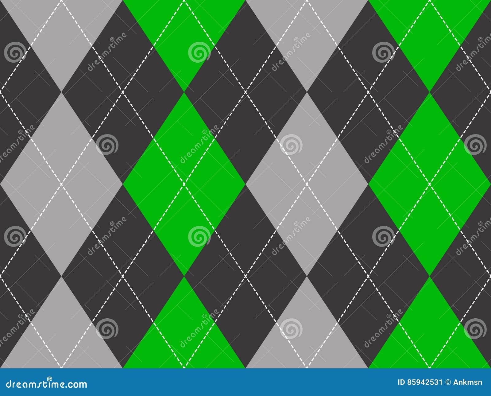 Green Gray Argyle Fabric Texture Seamless Pattern