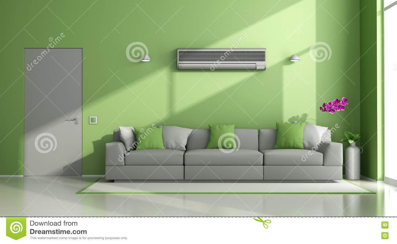 Green and gray modern lounge with air conditioner stock - Couleur qui va avec le gris ...