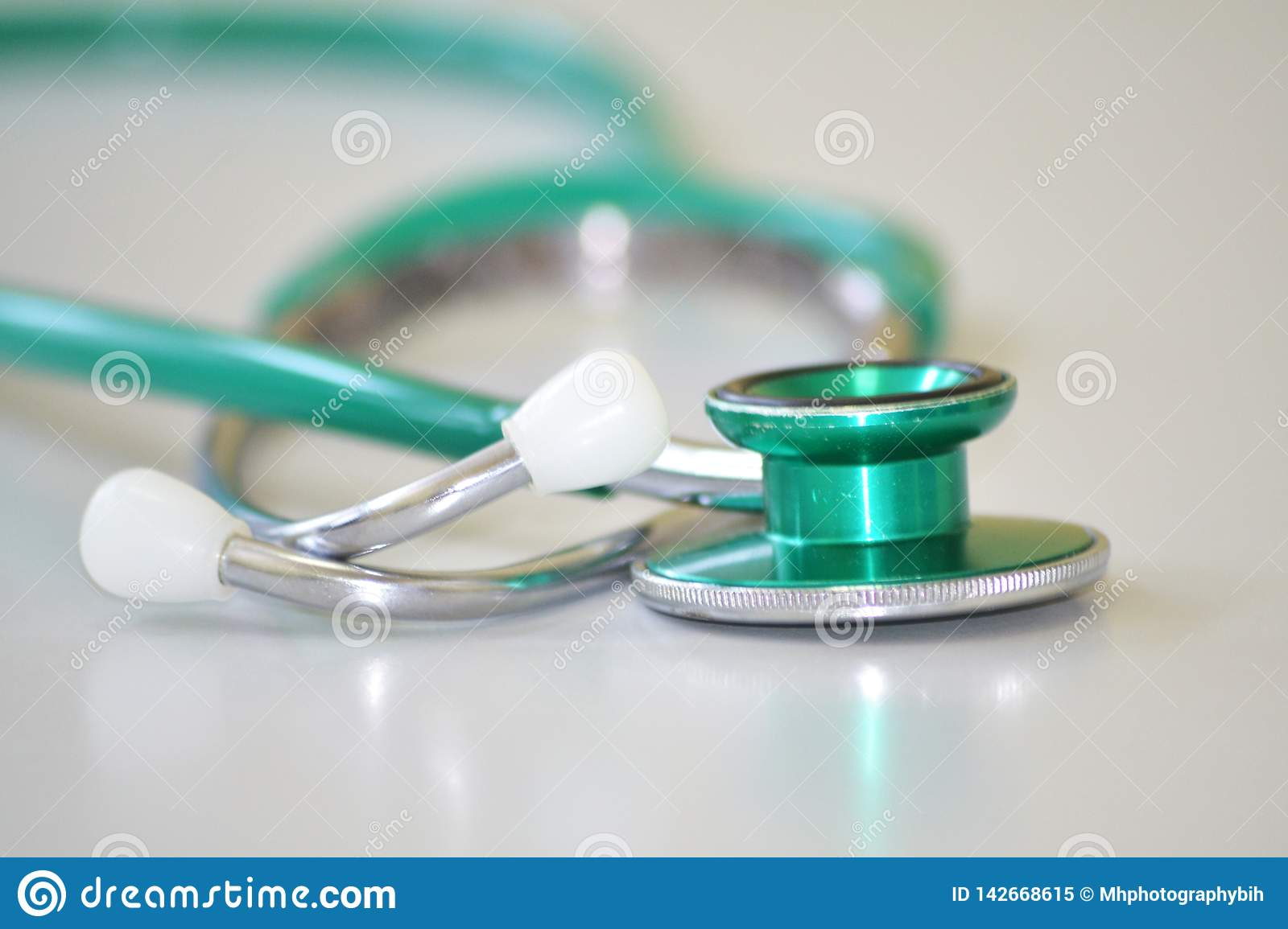 Green and gray stethoscope
