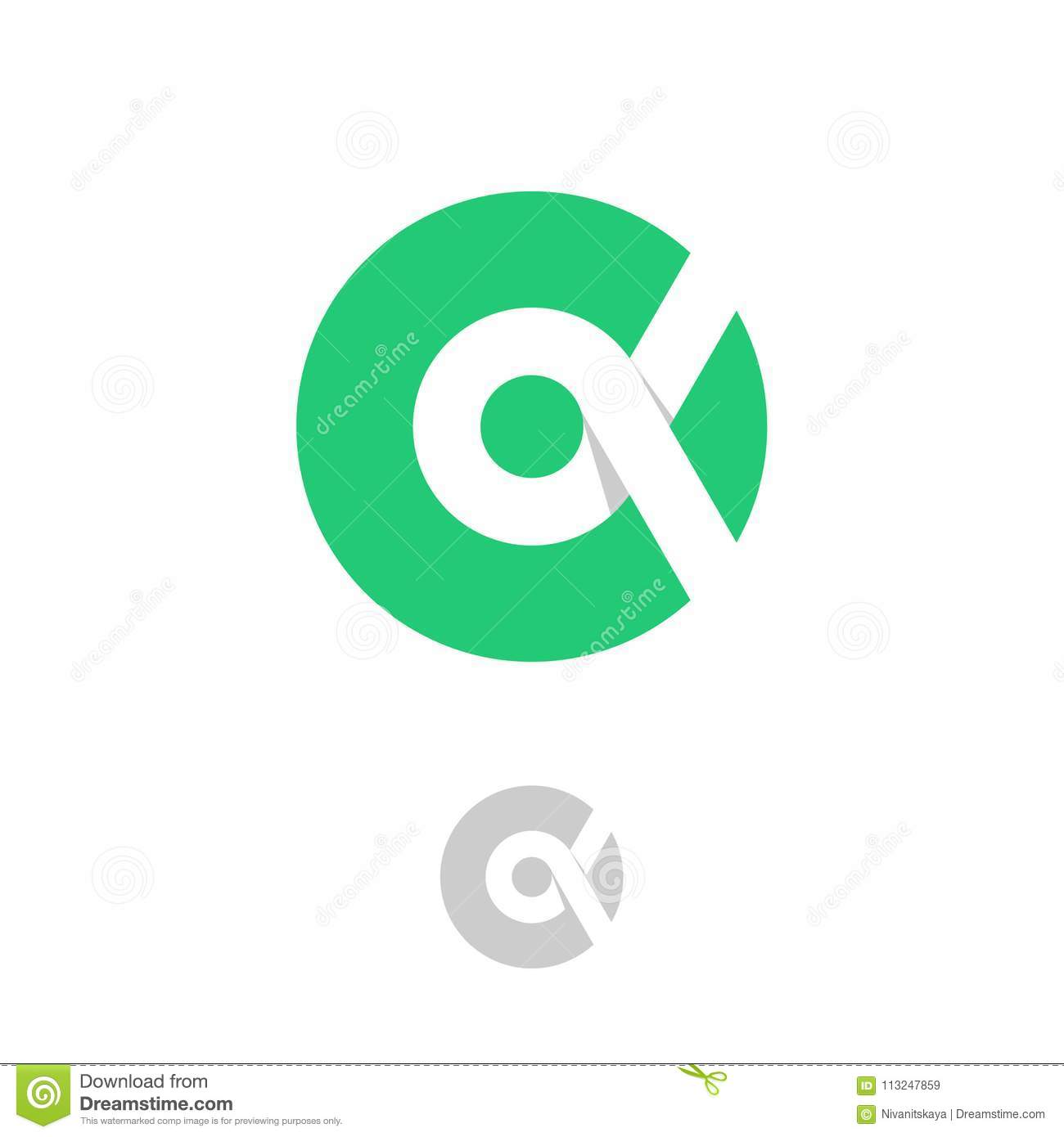 Alpha Logo A Emblem Greek Letter Alpha On Circle On A White
