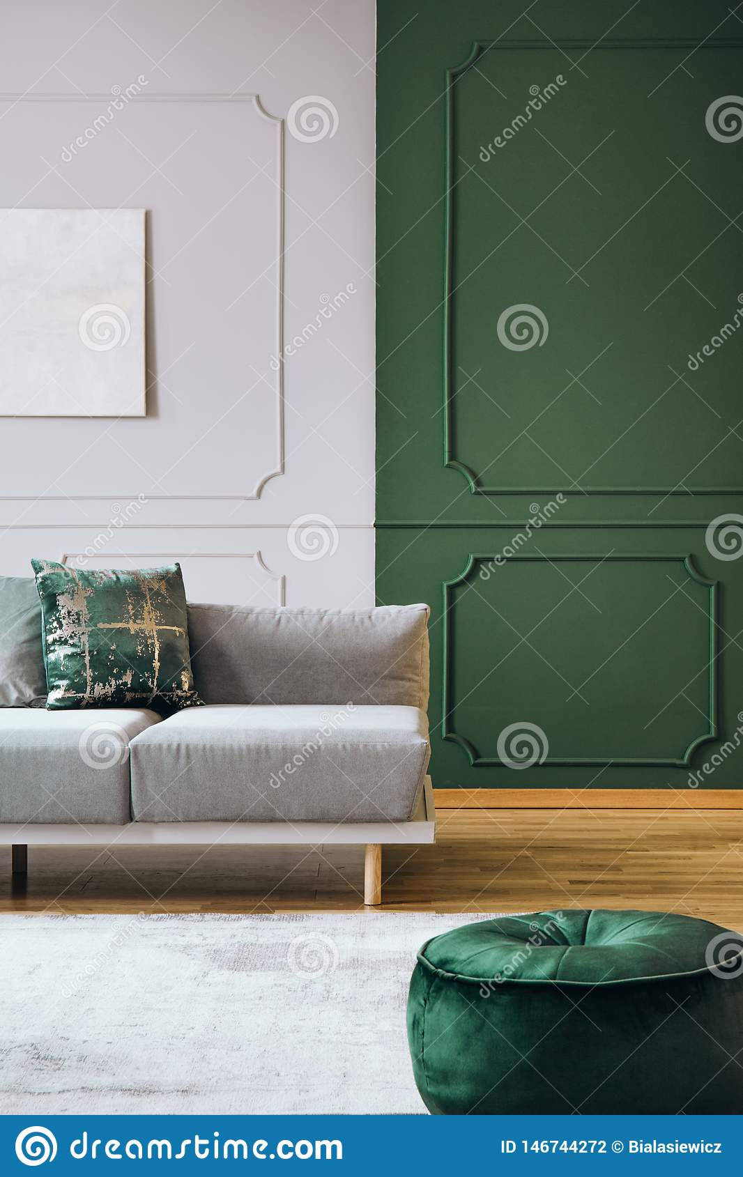 Green And Grey Wall With Molding In Chic Room Interior With