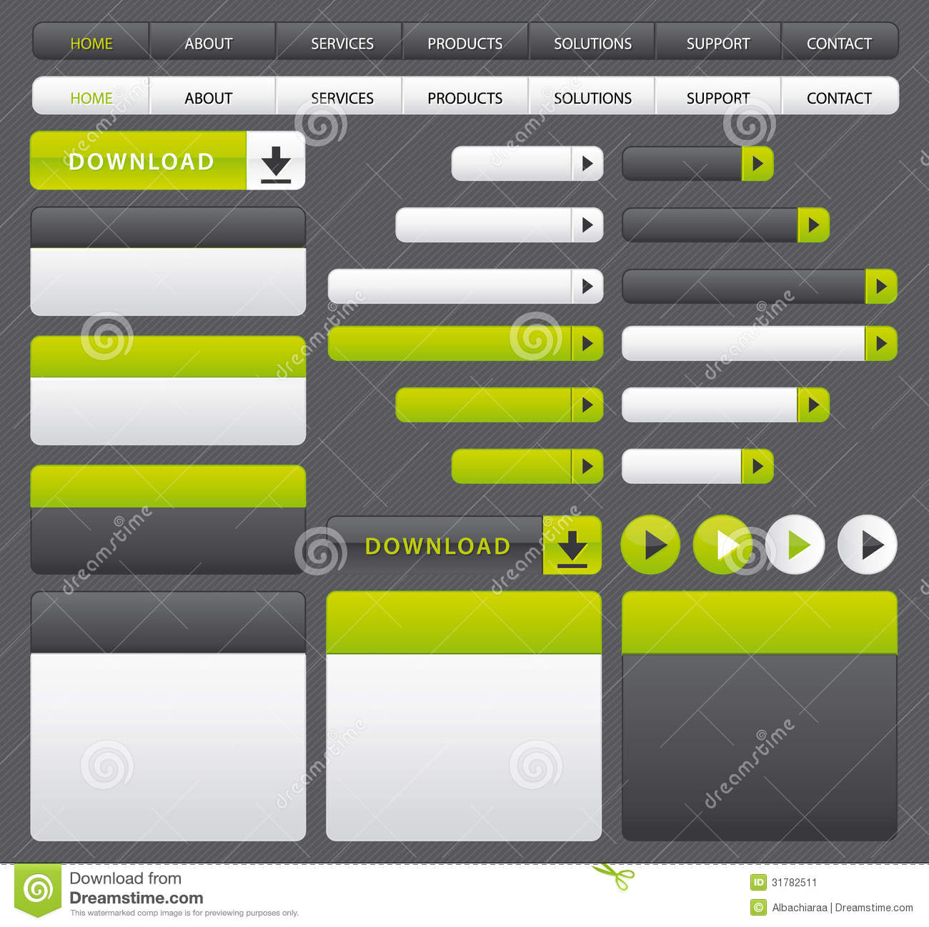 green and grey website buttons and navigation bar template