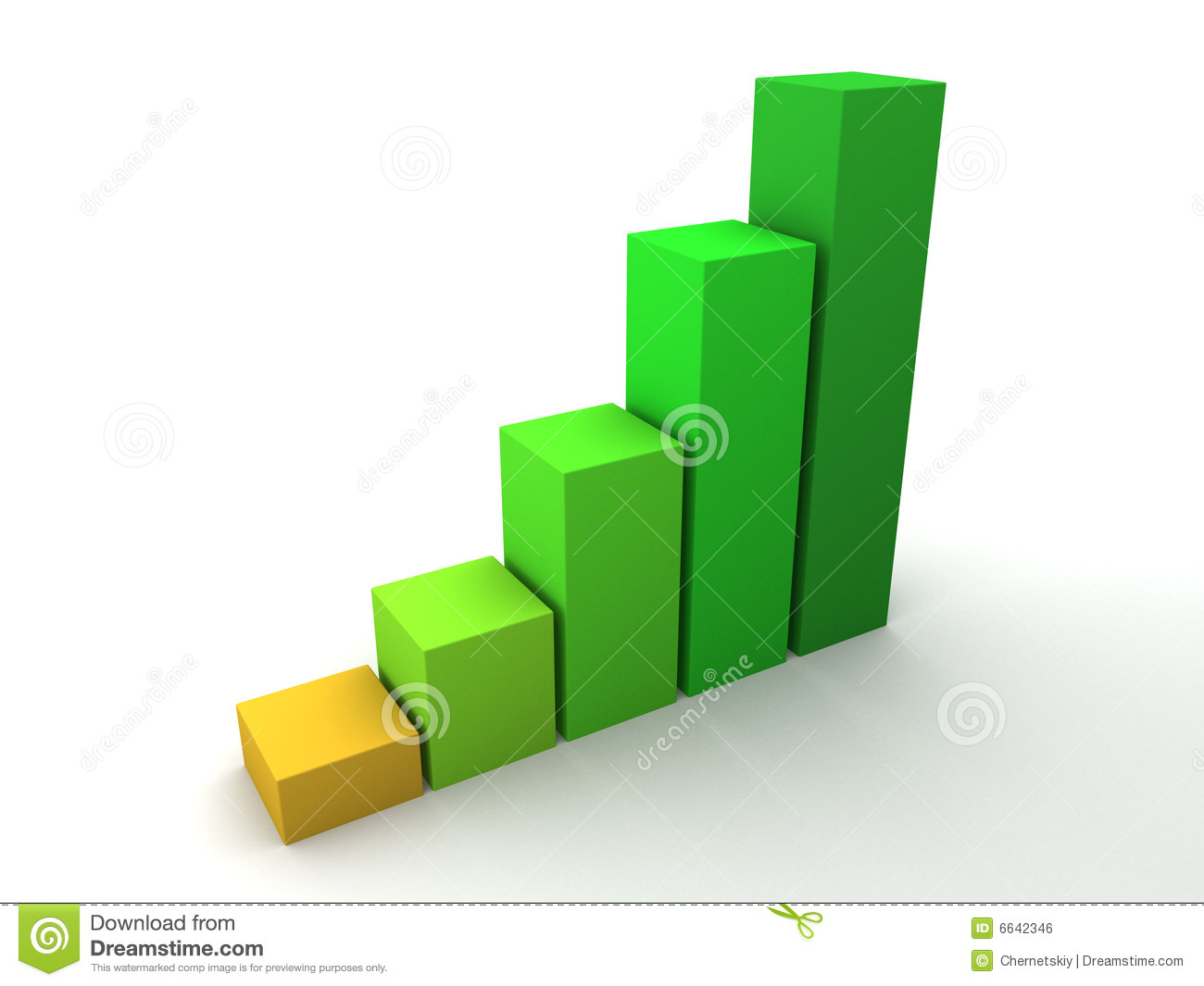 green growing 3d clustered bar chart stock illustration