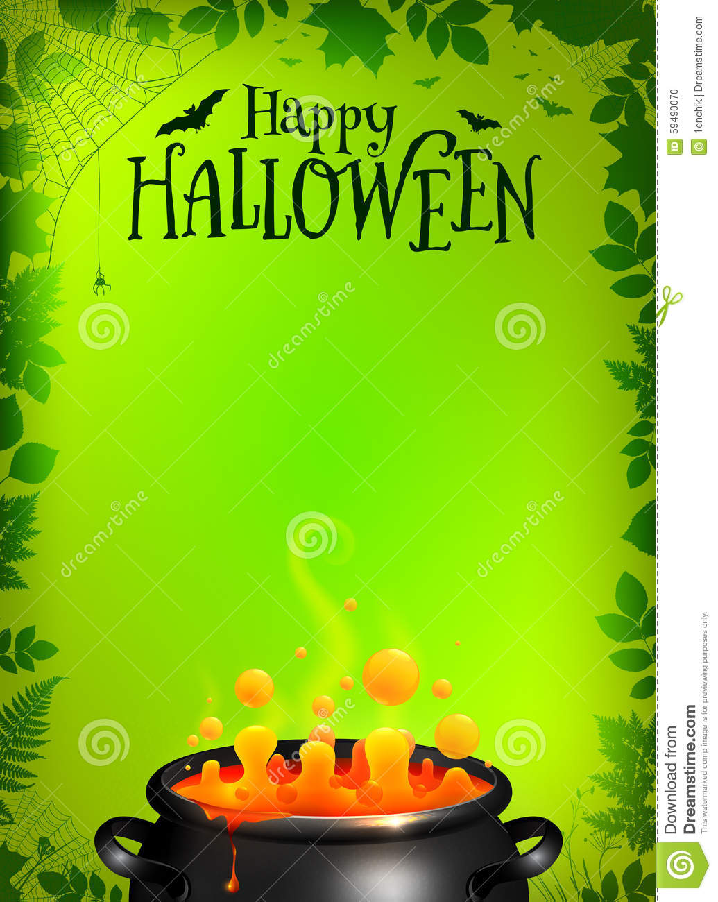 Green Halloween Poster Template With Orange Potion Stock Vector ...