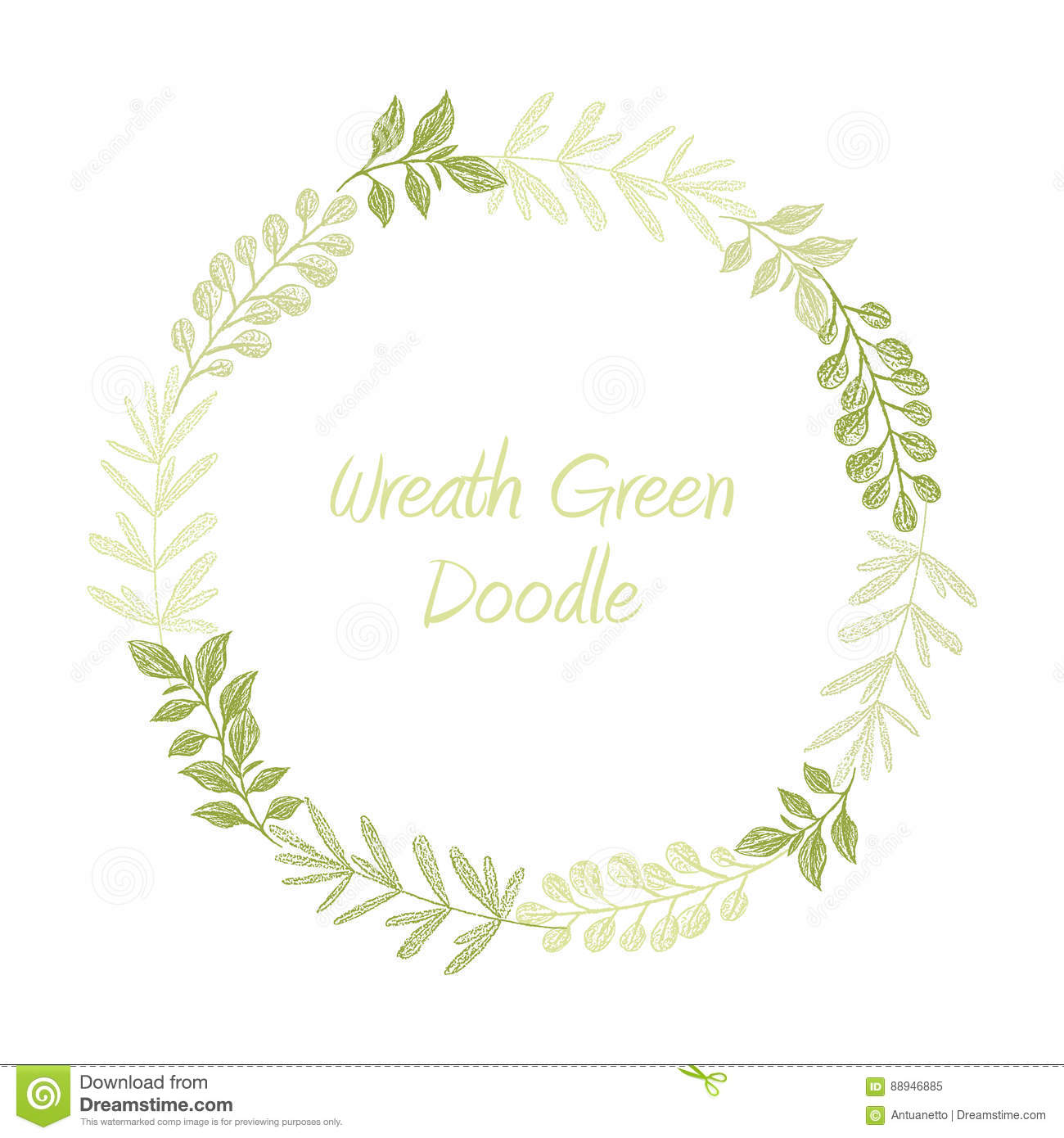 Green Hand Drawn Leaves Wreath Vector Stock Vector ...