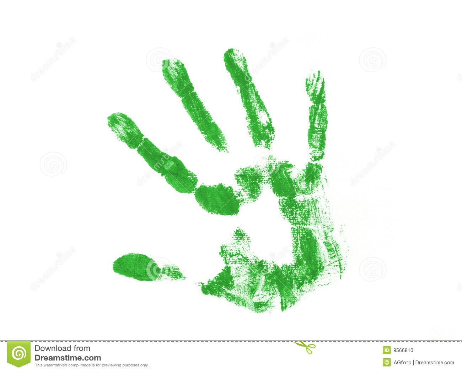Green Hand Print Stock Photo Image 9566810
