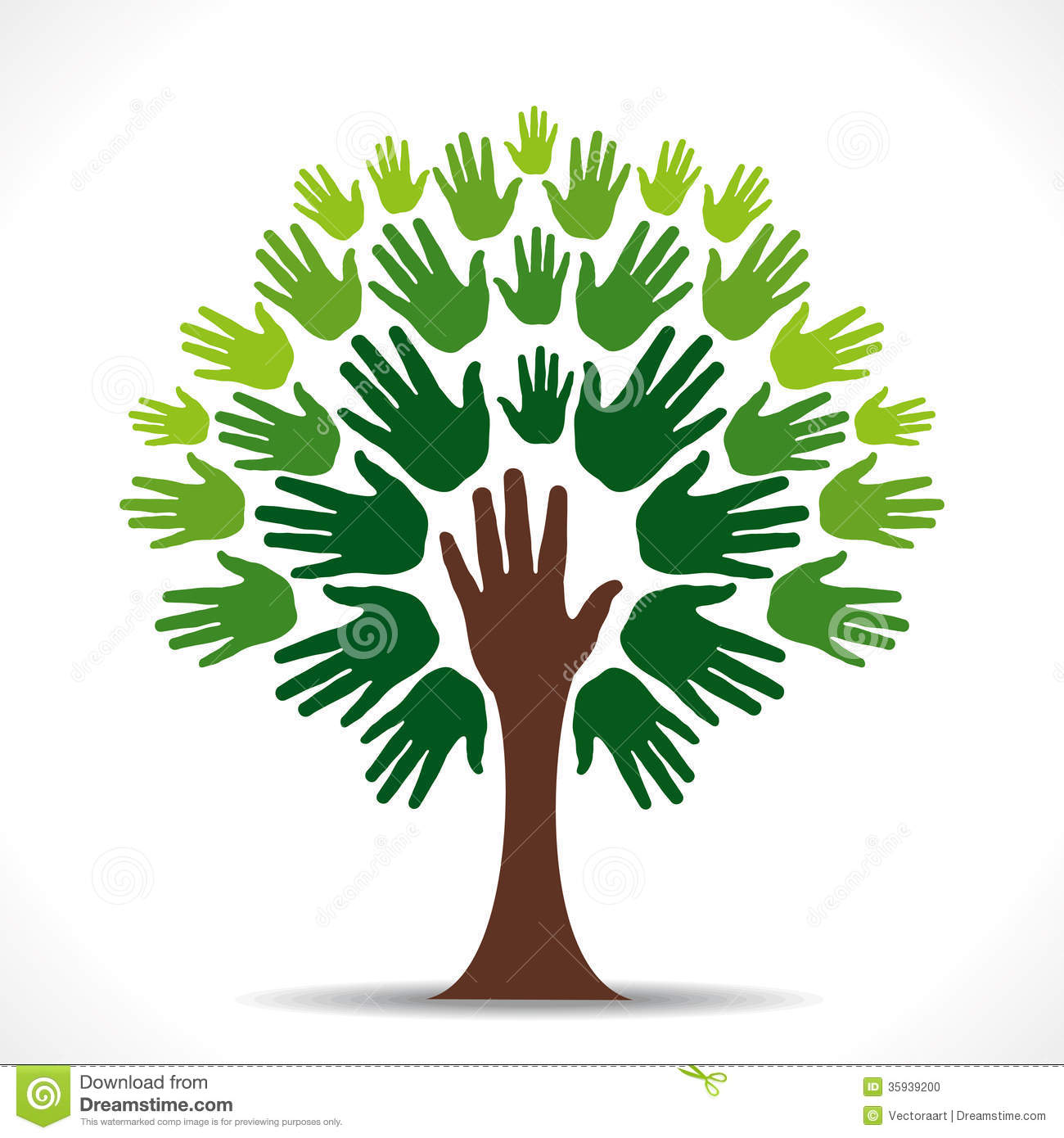 Symbolism Trees Green Hand Tree Stock Photo Image 35939200