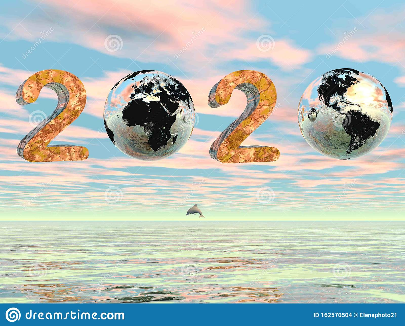 Green Happy New Year 2020 by sunset - 3D render