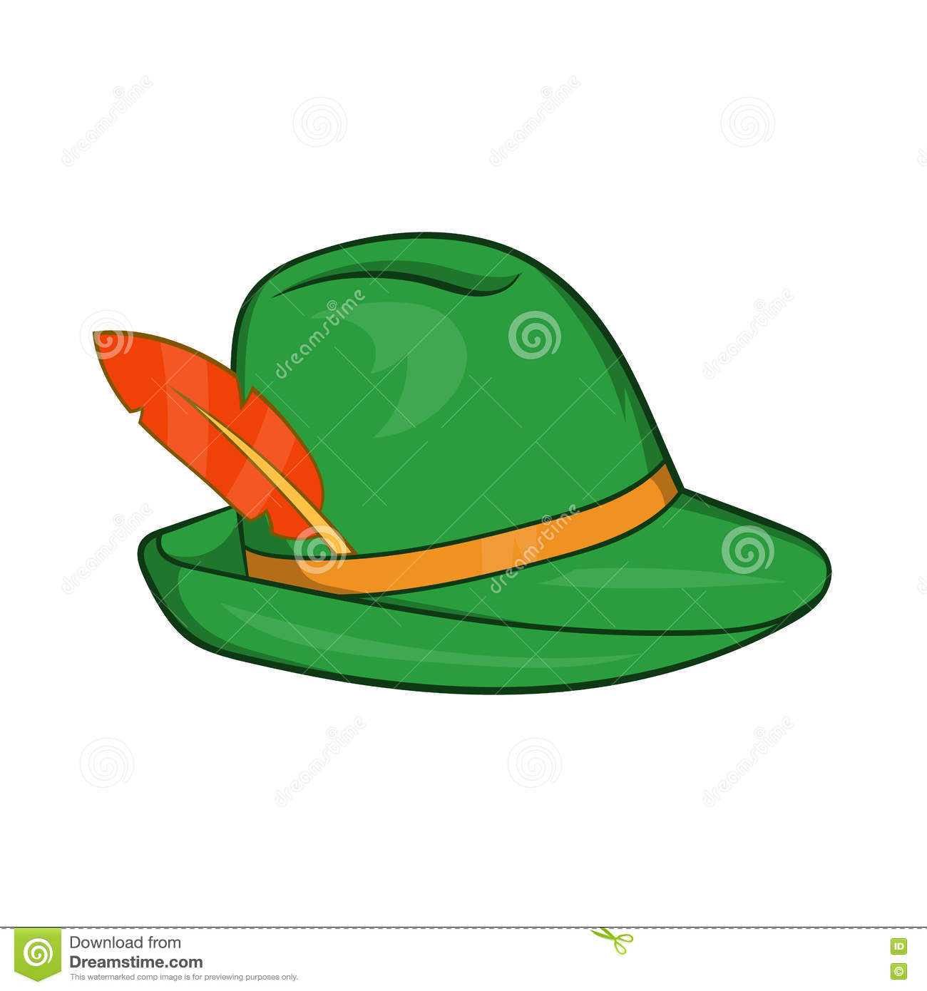 bb83281c451 Green hat with a feather icon in cartoon style on a white background