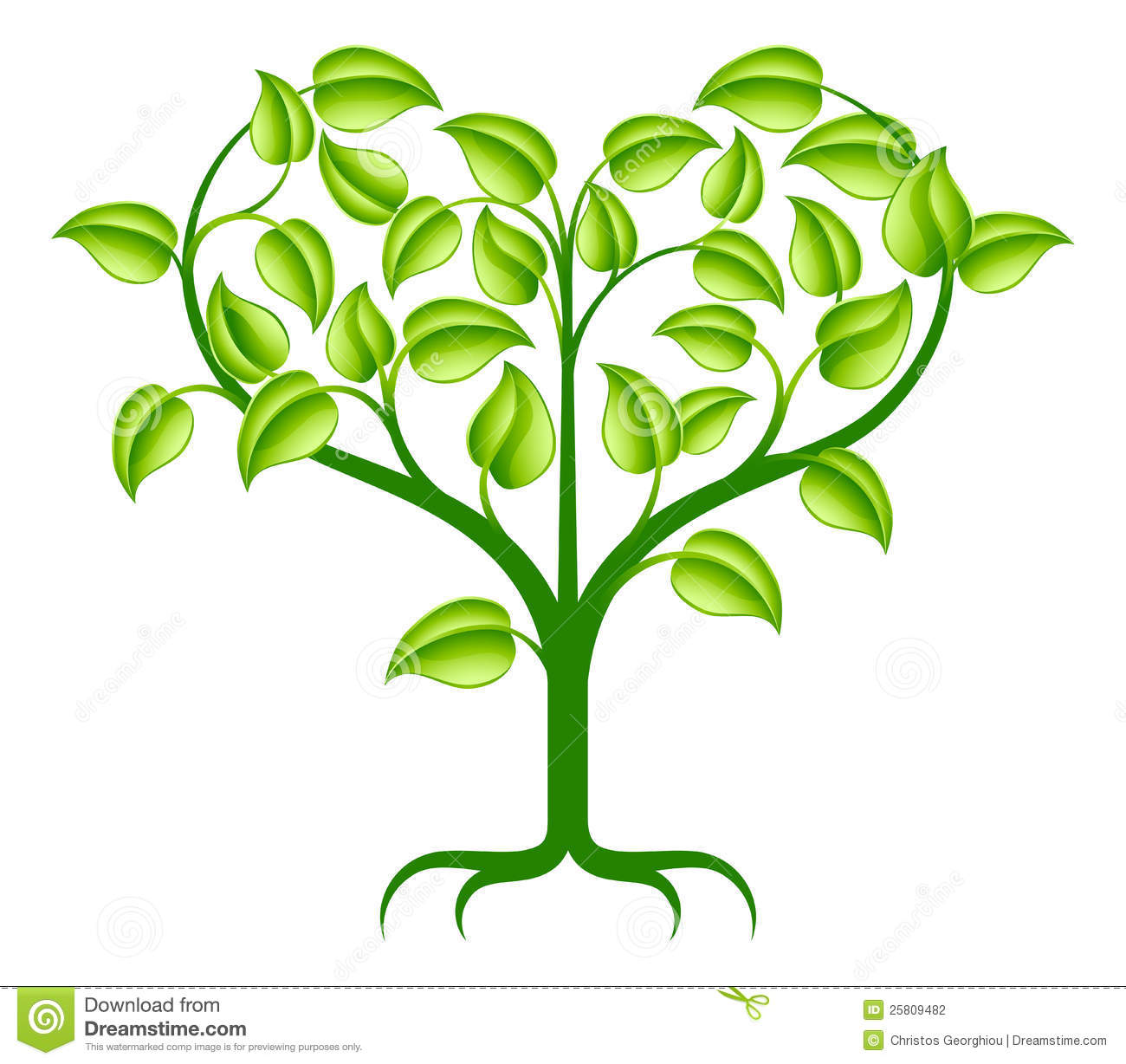green abstract tree illustration with branches growing into a heart ...