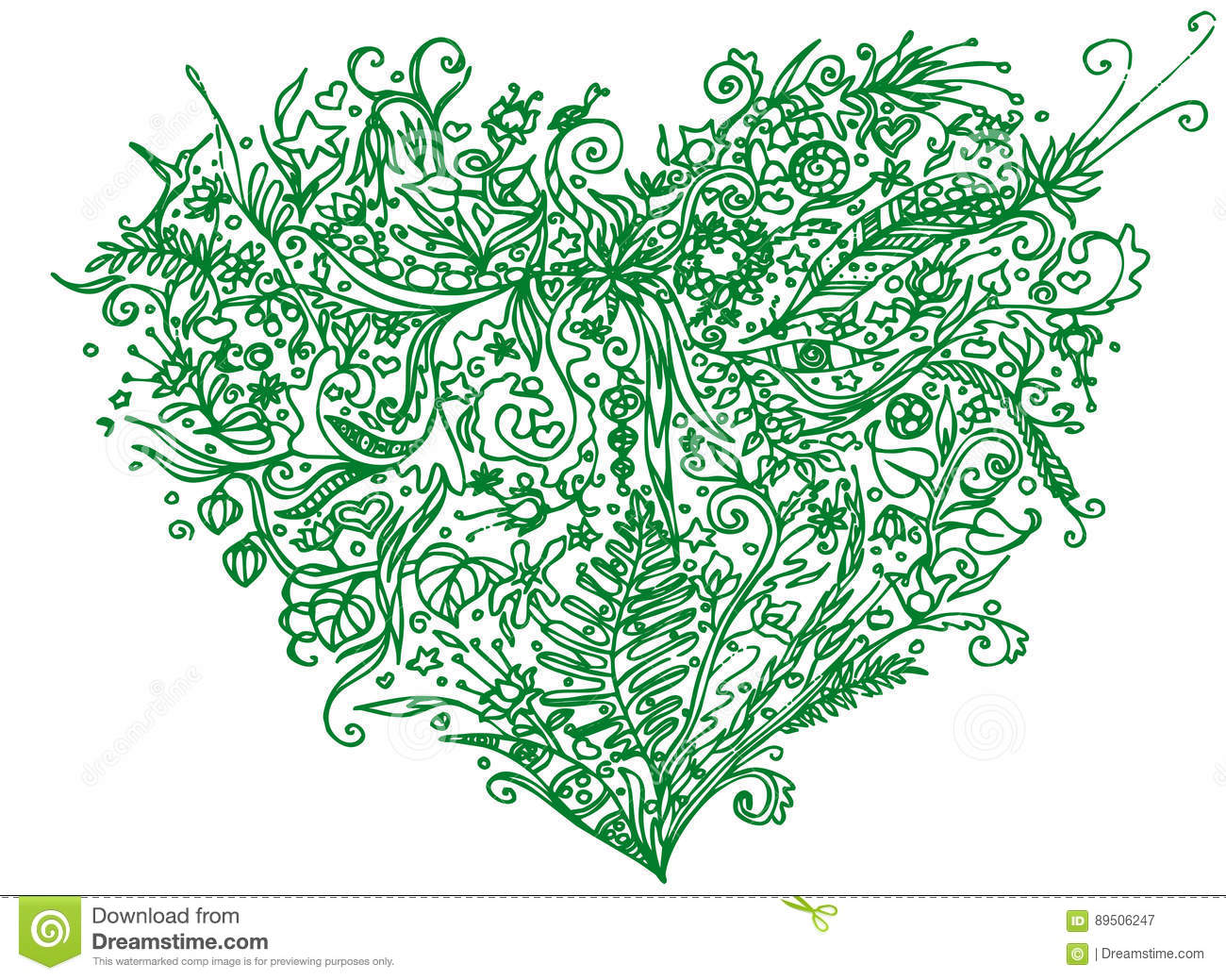 Green Heart In Zentangle Style. Isolated On White Background. Herbal ...
