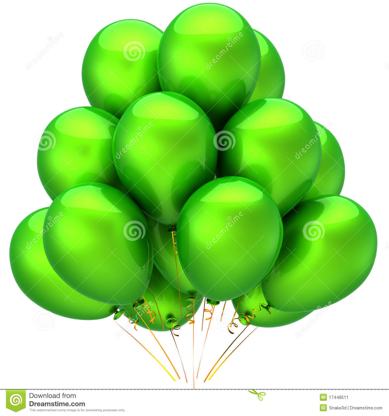 Green helium balloons stock illustration. Image of holiday ...