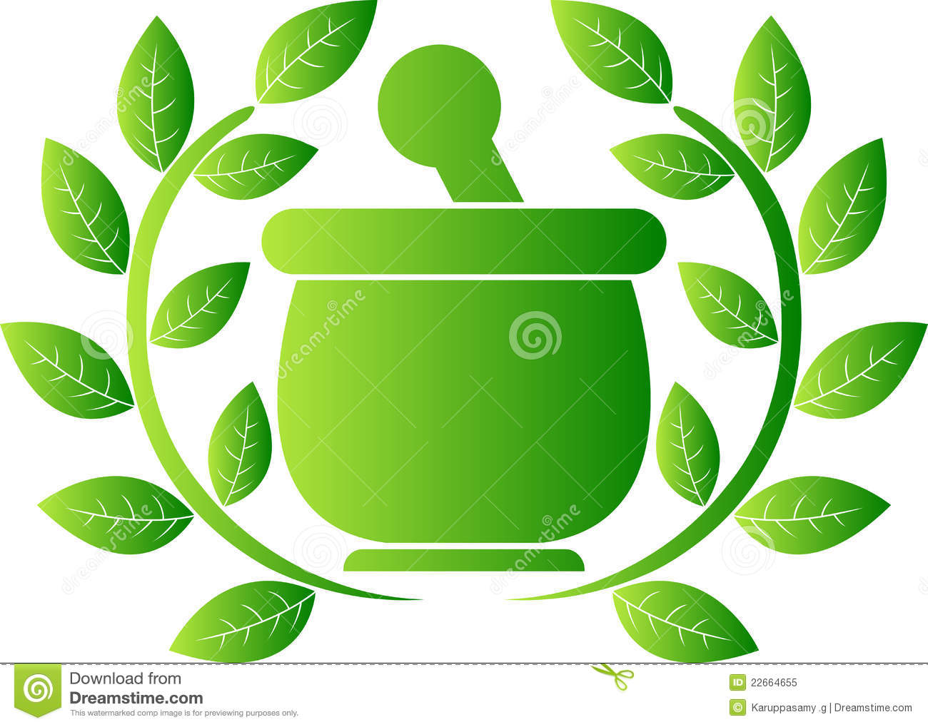 Illustration art of a green herbal logo with isolated background.