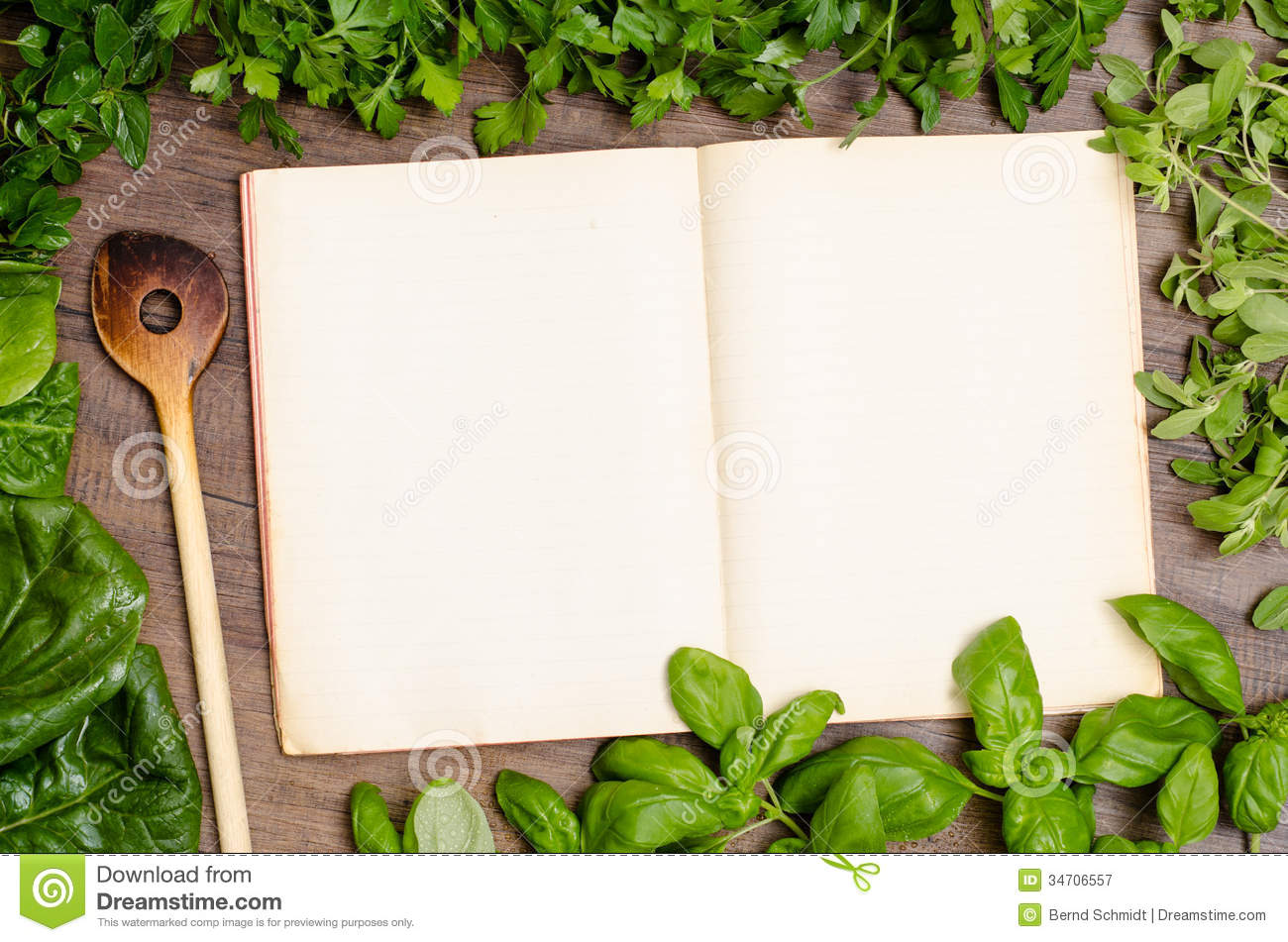 Green Herbs As Frame Around A Cookbook Royalty Free Stock ...