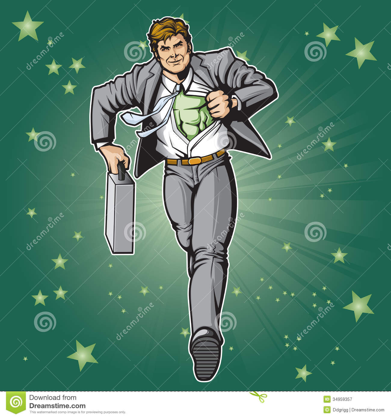 Generic businessman superhero figure changing. Layered & easy to edit ... Superhero Flying Vector