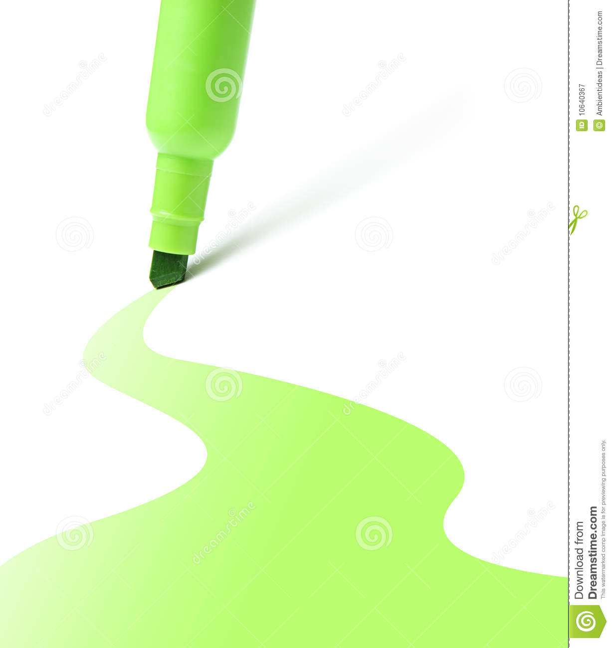 Green highlighter with color wave stock image image for Silverleaf com