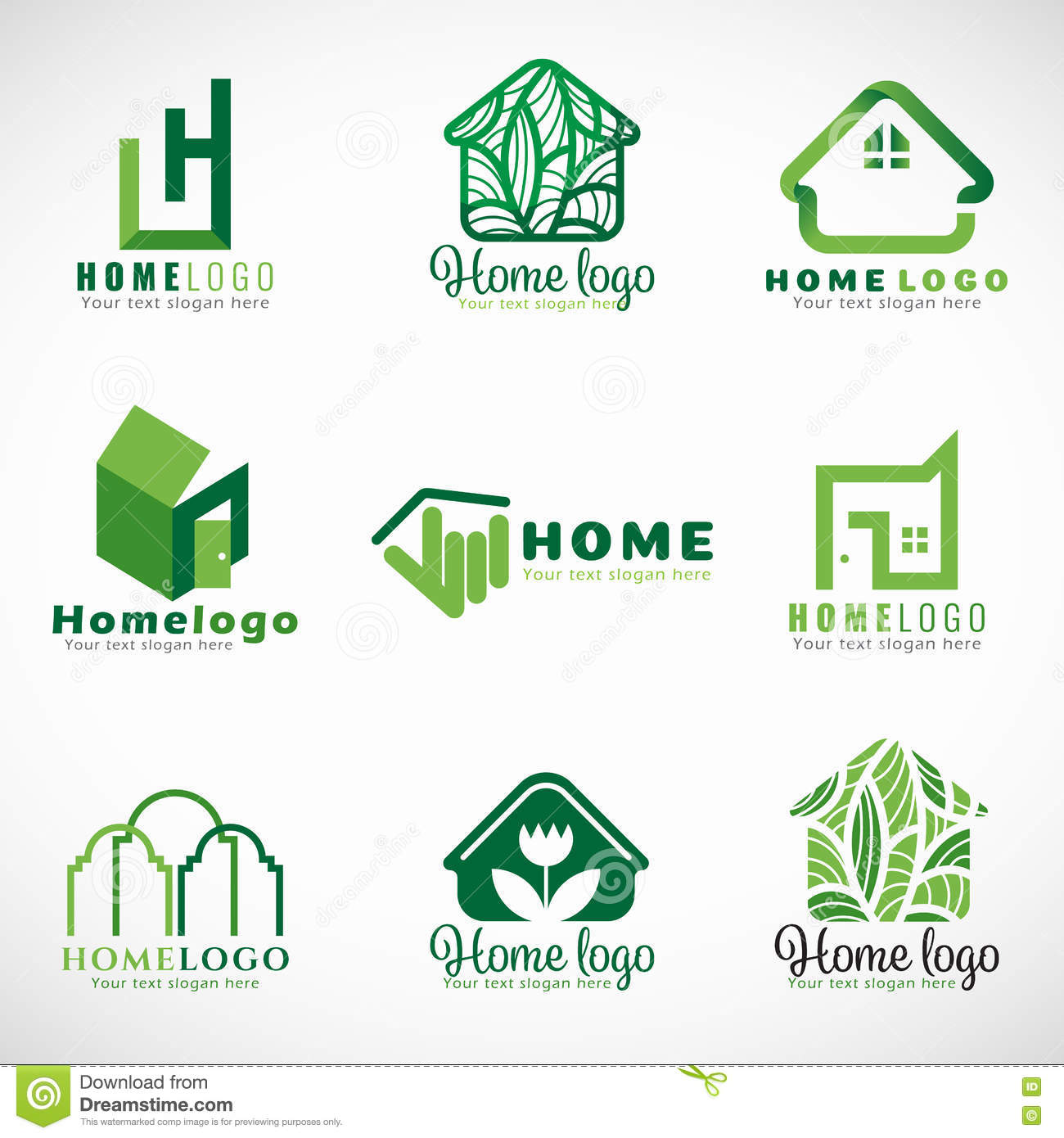 Green home logo royalty free cartoon for Modern house logo
