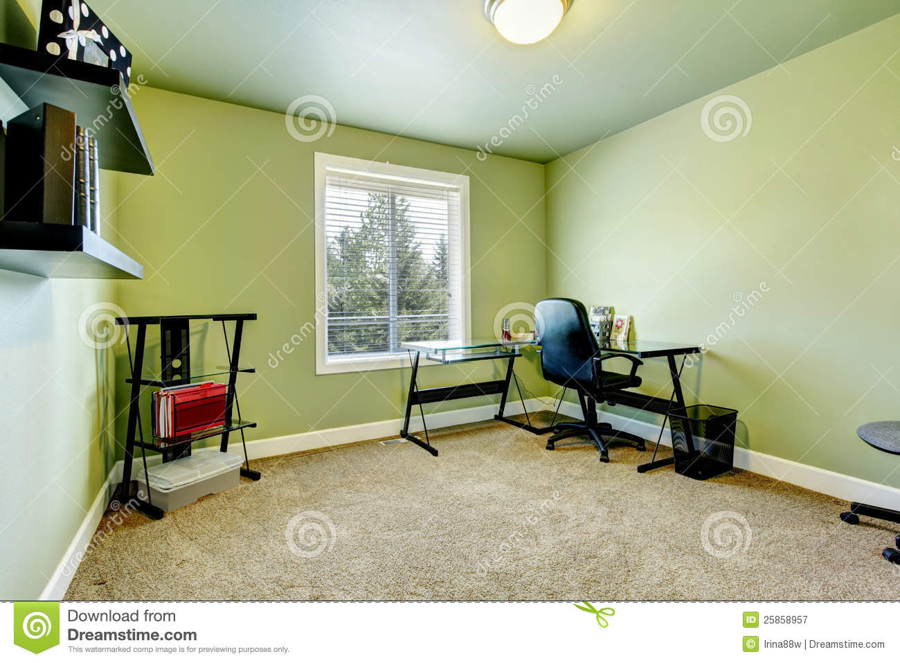 Green Home Office With Beige Carpet Royalty Free Stock