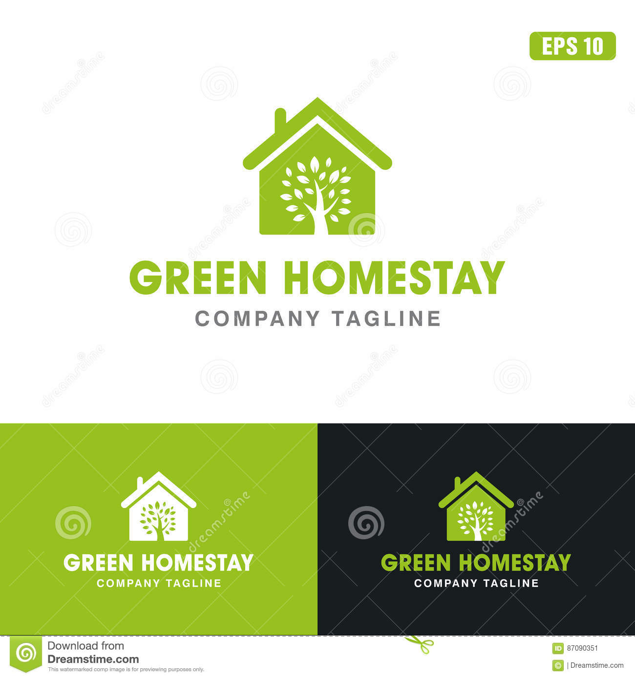 Green Home Stay Logo / Icon Vector Design Business Logo Idea Stock ...