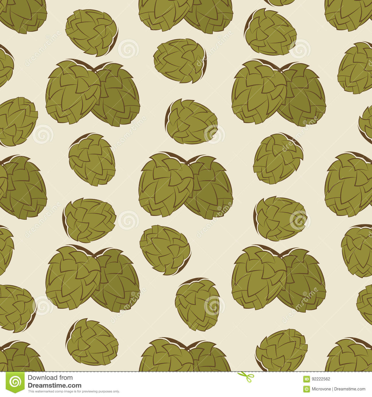 Green Hop Seamless Pattern Design Vintage Texture With Hand Drawn