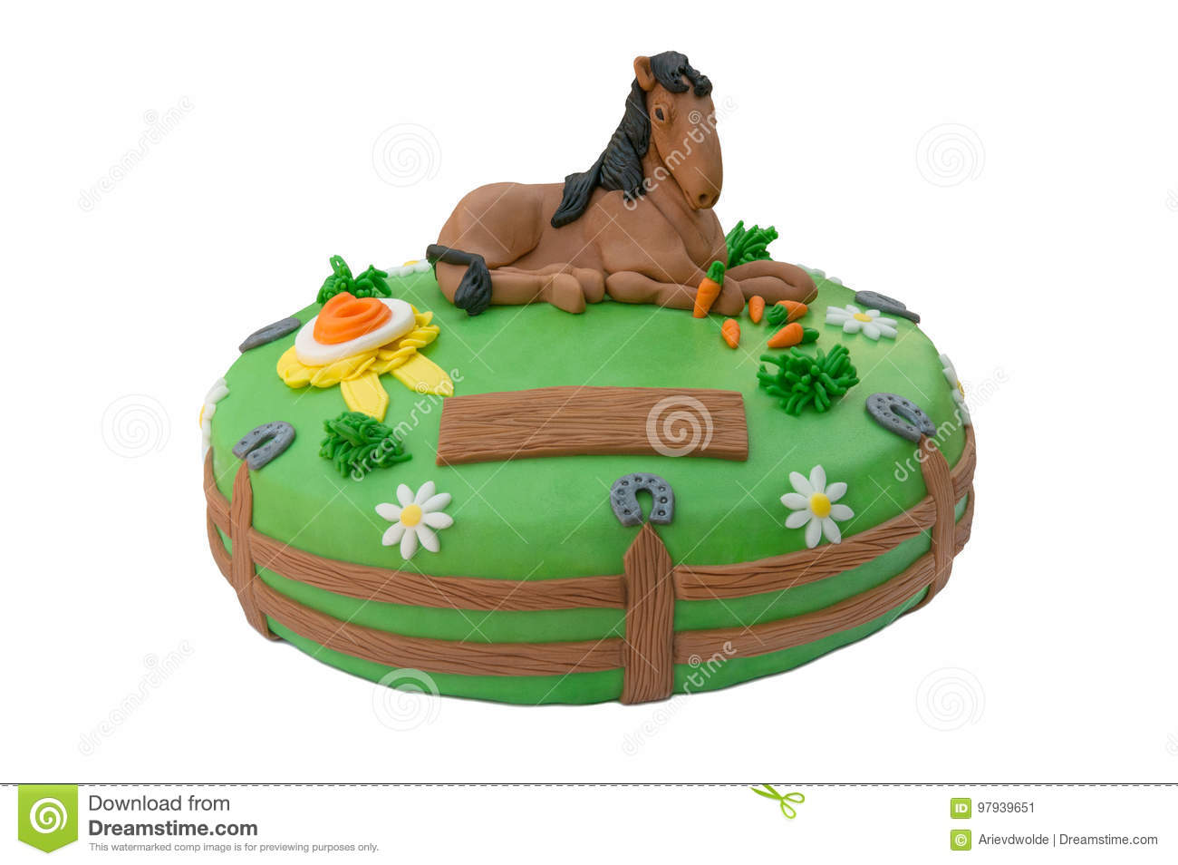 Admirable Green Horse Birthday Cake Stock Image Image Of Colorful 97939651 Funny Birthday Cards Online Alyptdamsfinfo